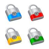 Padlocks. Illustration of set of colorful padlocks Stock Photos