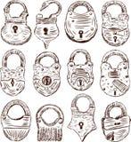 Padlocks. Vector drawings of a different ancient padlicks Royalty Free Stock Photos