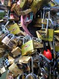 Padlocks. With love messages in italy Stock Photo