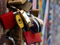 Padlocks on the Berlin wall Stock Image