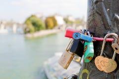 Padlocks on the bridge of arts in Paris Stock Photo