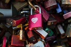 Padlocks on the bridge. Cologne, Germany. royalty free stock photo