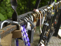 Padlocks on the bridge. For luck Royalty Free Stock Photography