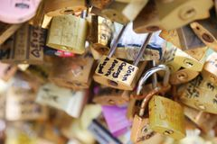 Padlocks, bridge over the Seine river in Paris, France Stock Photo