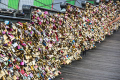 Padlocks on a bridge Stock Photography