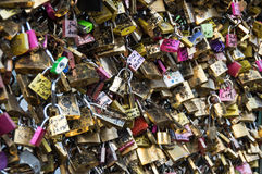Padlocks on a bridge Royalty Free Stock Image