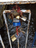 Padlocks on a bridge Royalty Free Stock Images