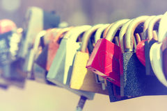 Padlocks on bridge railing Royalty Free Stock Image