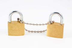Padlocks with chain Stock Photography