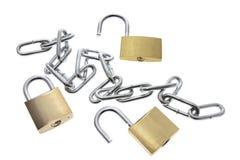Padlocks and Chain Royalty Free Stock Photos