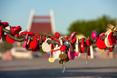 Padlocks on the chain Stock Image