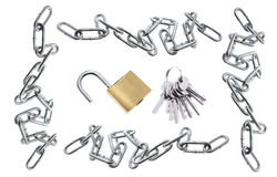 Padlocks, Chains and Keys Stock Image