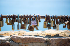 Padlocks closed on the memory of eternal love Stock Image