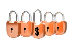 Padlocks concept - US dollar currency safety Royalty Free Stock Photo