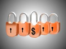 Padlocks concept: US dollar currency safety Stock Photos