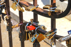 Padlocks on the fence of bridge in Florence Royalty Free Stock Image