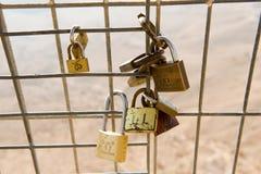 Padlocks on fence Royalty Free Stock Image