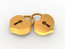 Padlocks hearts. Two golden padlock-hearts on white background Royalty Free Stock Image