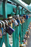 Padlocks hung on the Tumski Bridge Royalty Free Stock Photography