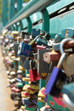 Padlocks hung on the Tumski Bridge Stock Photo