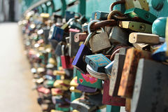 Padlocks hung on the Tumski Bridge Royalty Free Stock Image
