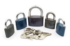 Padlocks and Keys Stock Photos