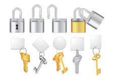 Padlocks with keys and keychains Stock Photo