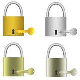 Padlocks with keys Royalty Free Stock Image