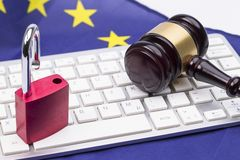 General Data Protection open. Padlocks on Laptop with judge hammer for Data Protection Concept stock photos