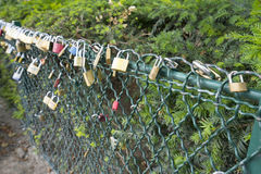 Padlocks. Left by lovers on the bridge of the arts in Paris Royalty Free Stock Images