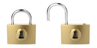 Padlocks. Locked and unlocked padlocks, isolated on white background Royalty Free Stock Photos