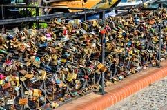 Padlocks of love on bridge Royalty Free Stock Image