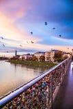 Padlocks of love on a bridge of Salzburg Royalty Free Stock Images