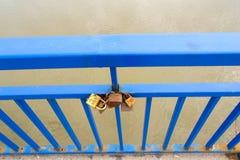 Padlocks for love. Hooked on the bridge in Novi Sad, Serbia royalty free stock image