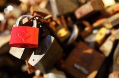 Padlocks with love lock. Bunch of padlocks with love lock royalty free stock photos