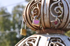 Padlocks with love lock. On old iron bridge Royalty Free Stock Photography
