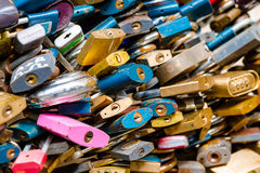 Padlocks. Love locks on a bridge close up shoot Stock Photos