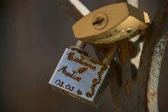 Padlocks of love. Locks; padlocks; love; symbol; love story; written names; engravings; detail; Love locks; fashion; legend stock photo