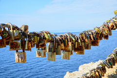 Padlocks of love Stock Images
