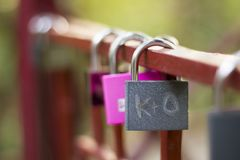 Padlocks of love - symbol for everlasting friendship stock photos