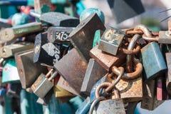 Padlocks of love on the Tumski bridge in Wroclaw. Poland Stock Images