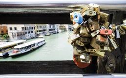Padlocks of lovers placed on the bridge Stock Photos
