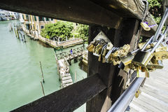 Padlocks of lovers placed on the bridge Stock Photo