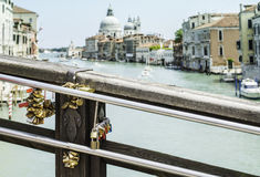 Padlocks of lovers placed on the bridge Royalty Free Stock Images