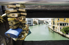 Padlocks of lovers placed on the bridge Royalty Free Stock Image