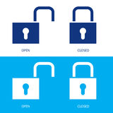Padlocks in open and closed positions. Illustration of padlocks in open and closed positions Stock Photography