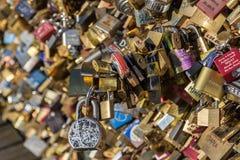 Padlocks on Pont des Arts bridge in Paris Stock Photos