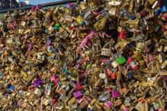 Padlocks on Pont des Arts bridge in Paris Royalty Free Stock Image