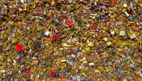 Padlocks on Pont des Arts Bridge Royalty Free Stock Photos