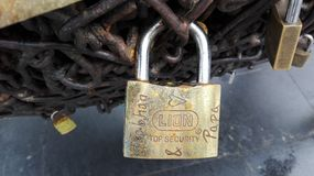 Padlocks of promises of love. stock images